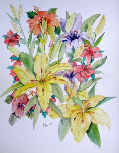 """Amarillo Lillies"" - Watercolor 11x15"