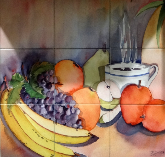 """Coffee & Fruit"" - 8 Inch Tile Mural 24x24"