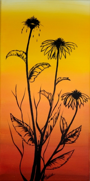 """Silhouette Flowers on Sunrise"" - Acrylic on Canvas 12x24"